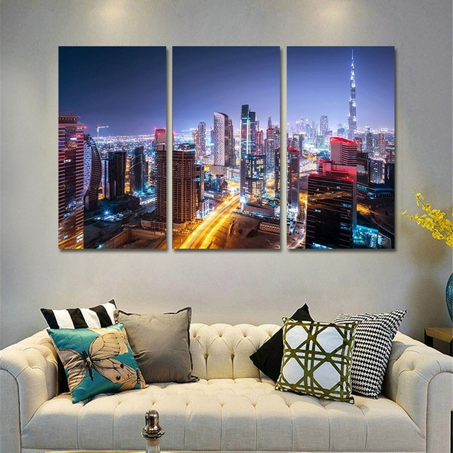 Canvas Wall Art Pictures Home Decor Frame 3 Pieces Dubai City Regarding Dubai Canvas Wall Art (Image 7 of 15)