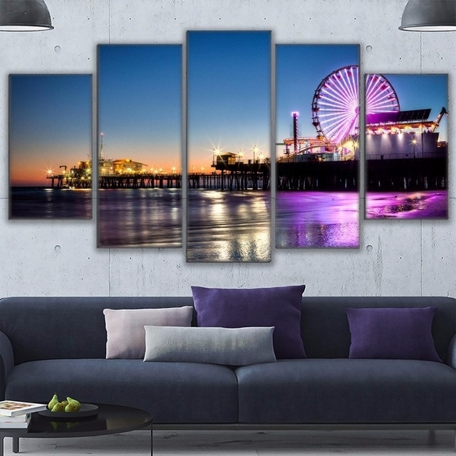 Canvas Wall Art Pictures Home Decor Living Room 5 Pieces Los Intended For Los Angeles Canvas Wall Art (Image 6 of 15)