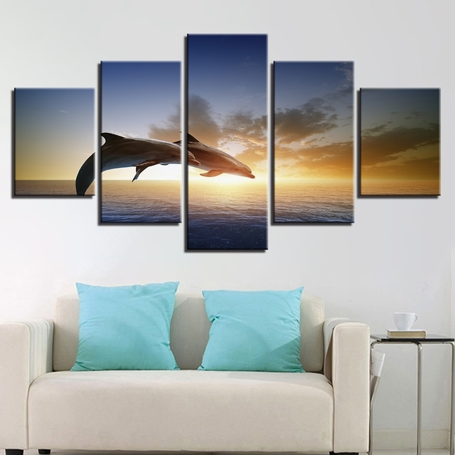 Canvas Wall Art Pictures Living Room Decor 5 Pieces Jumping Throughout Jump Canvas Wall Art (Image 11 of 15)