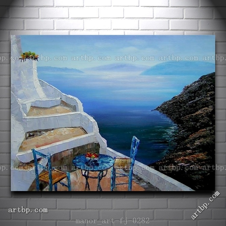 Canvas Wall Art Seascape Greece Oil Painting Modern Decor Hand With Regard To Greece Canvas Wall Art (View 2 of 15)