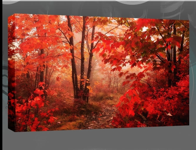 Canvas Wall Art Uk Red Leaves Of The Autumn Forest Single Canvas Pertaining To Red Canvas Wall Art (View 7 of 15)