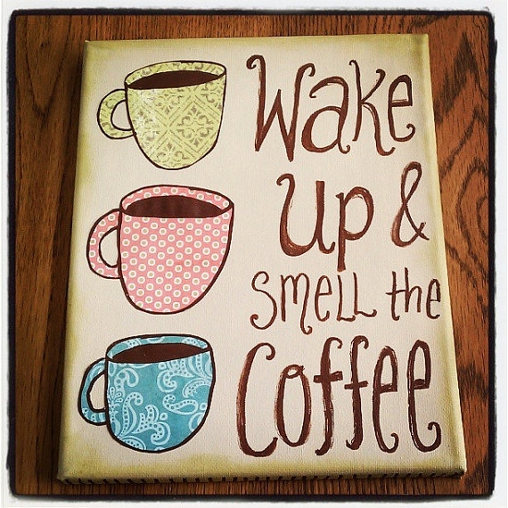 Canvas Wall Art – Wake Up And Smell The Coffee – Mixed Media Cups Pertaining To Coffee Canvas Wall Art (Image 6 of 15)