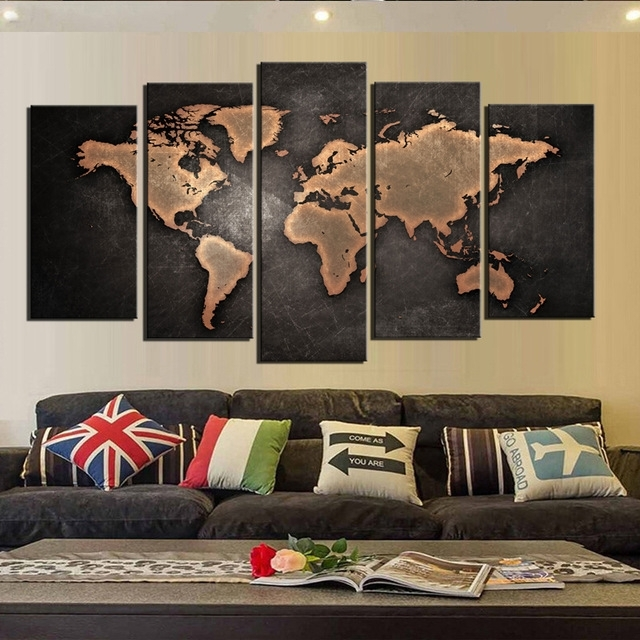 Canvas Wall Art World Map Wall Decor 5 Piece Large Map Canvas Art Inside Maps Canvas Wall Art (View 6 of 15)
