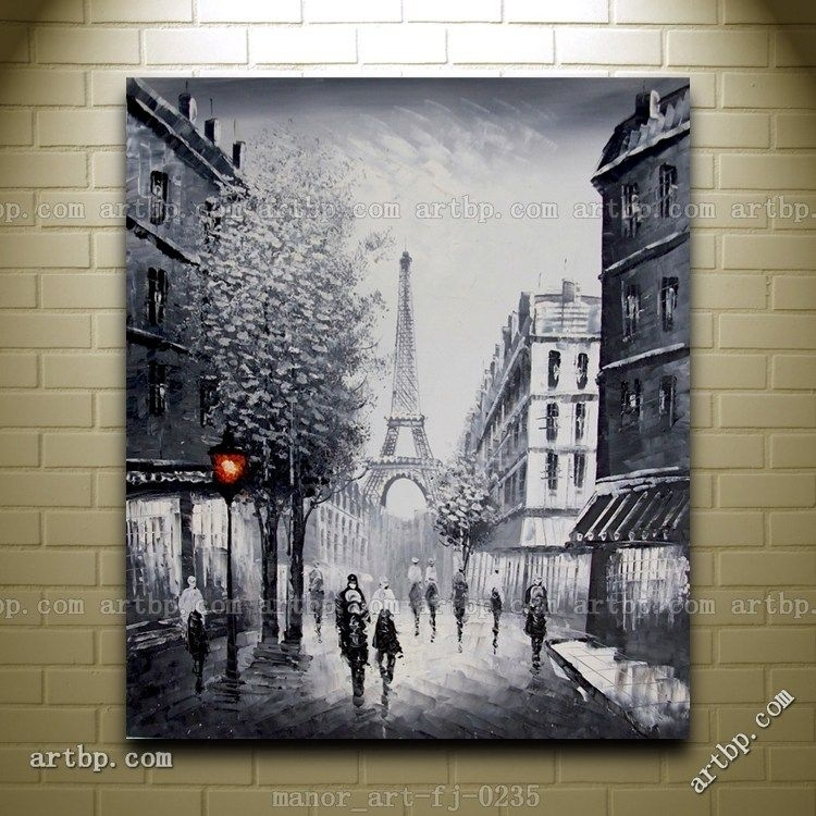 Canvas Wall Modern Art Paris Eiffel Tower Painted Oil Painting Throughout Canvas Wall Art Of Paris (View 7 of 15)