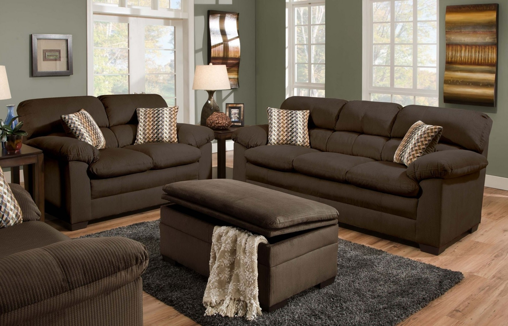 Cappuccino Sectional Sofa Set Having Pillow Arms Details Also With Sofas With Ottoman (View 5 of 10)