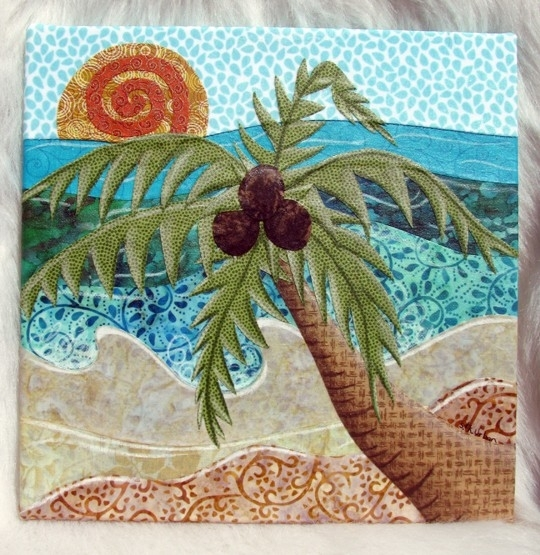Caribbean Palm Tree Fabric Collage Wall Artlittleliondesigns Regarding Fabric Collage Wall Art (Image 3 of 15)