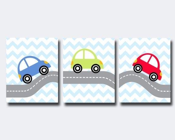 Cars Wall Art  Transportation Theme Boy Nursery Wall Art  Boy Pertaining To Cars Theme Canvas Wall Art (Image 6 of 16)
