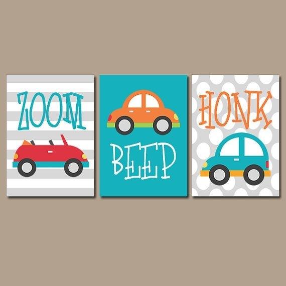 Cars Wall Art  Transportation Theme Boy Nursery Wall Art  Boy With Regard To Cars Theme Canvas Wall Art (Image 7 of 16)
