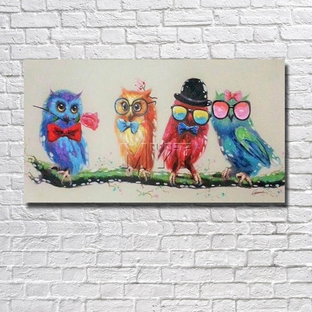 Cartoon Funny Birds Canvas Wall Art Oil Painting Decor Home Living For Birds Canvas Wall Art (View 9 of 15)