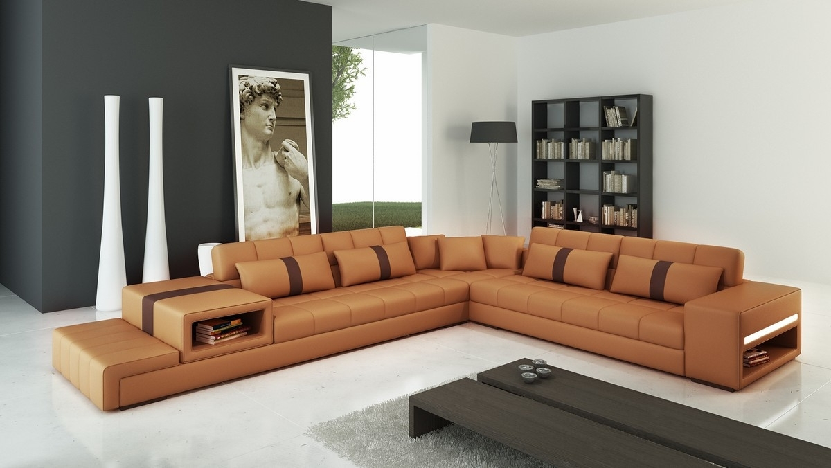 Casa 6141 Modern Camel And Brown Leather Sectional Sofa Intended For Camel Colored Sectional Sofas (Image 6 of 10)