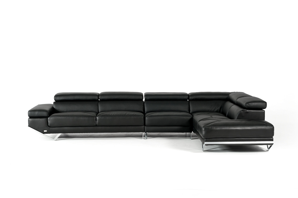 Casa Quebec Modern Black Eco Leather Sectional Sofa Inside Quebec Sectional Sofas (View 6 of 10)