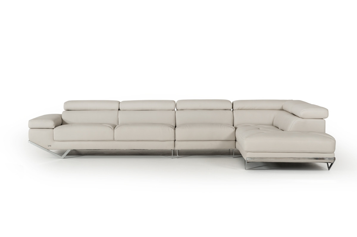 Casa Quebec Modern Light Grey Eco Leather Large Sectional Sofa Intended For Quebec Sectional Sofas (Image 3 of 10)