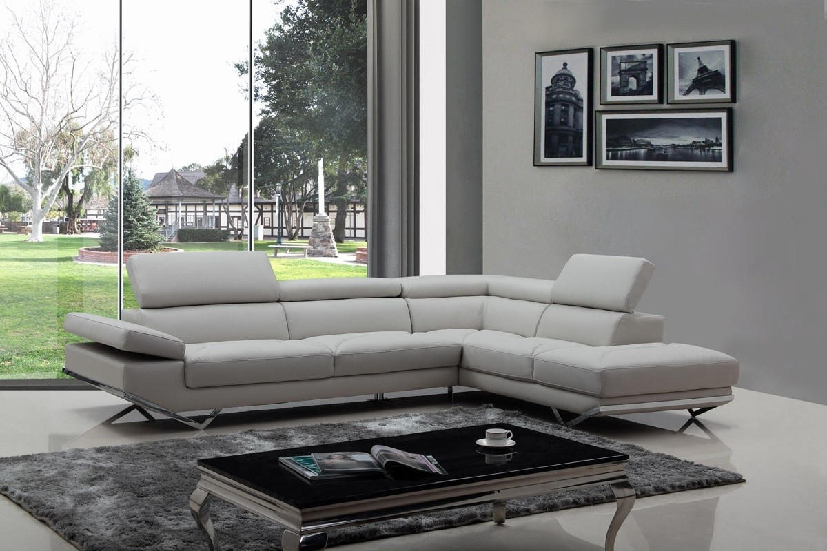 Casa Quebec Modern Light Grey Eco Leather Sectional Sofa With Light Grey Sectional Sofas (View 3 of 10)