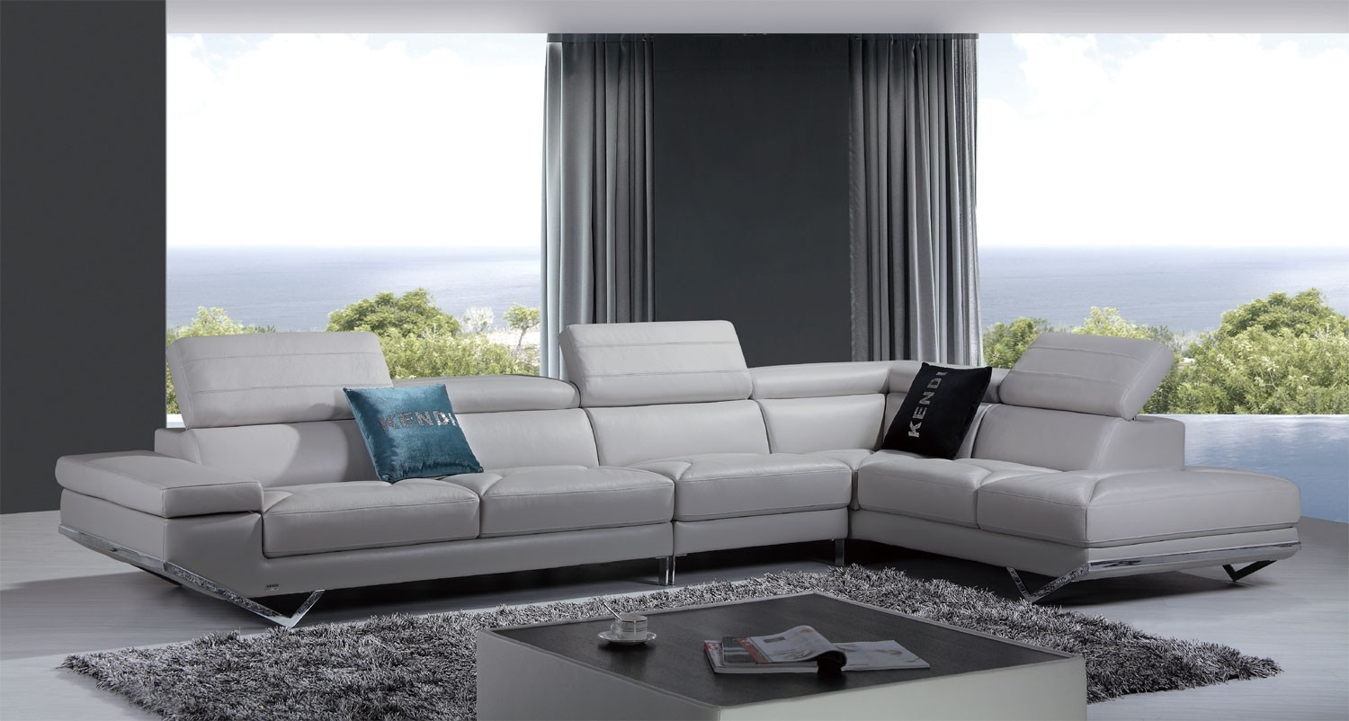 Casa Quebec Modern Light Grey Italian Leather Sectional Sofa Regarding Quebec Sectional Sofas (Image 5 of 10)