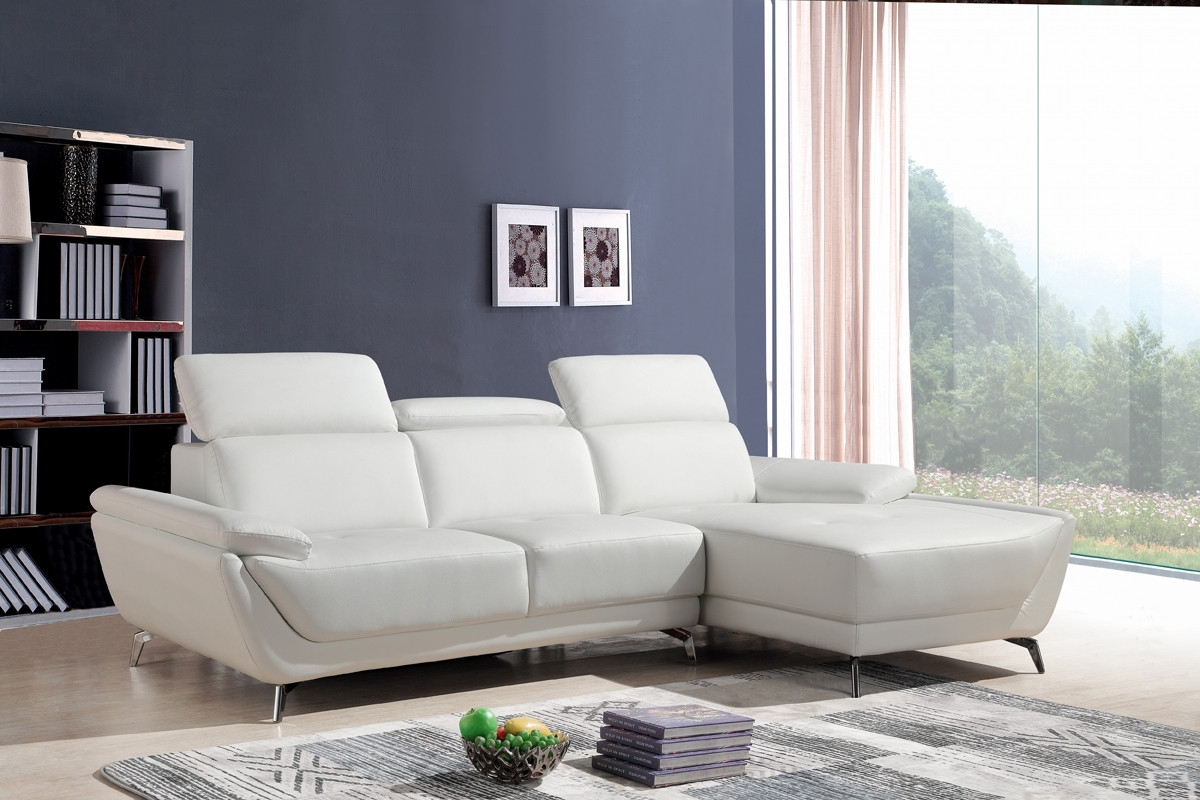 Casa Sterling Modern White Eco Leather Sectional Sofa With Contemporary Sectional Sofas (View 5 of 10)