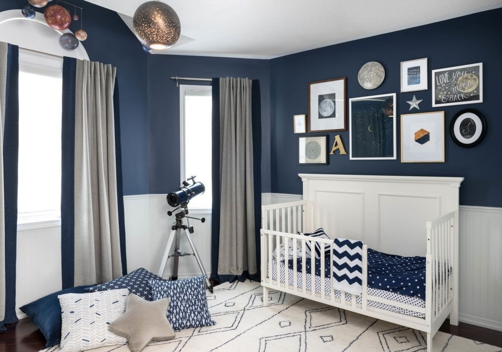 Celestial Inspired Boys Room | Navy Walls, Wall Colors And Big Boys Throughout Navy Wall Accents (Image 4 of 15)