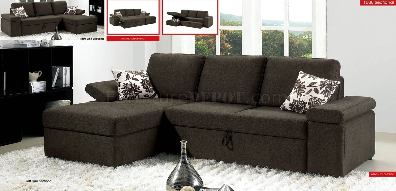 Charcoal Brown Fabric Modern Sectional Sofa W/pull Out Bed In Pull Out Beds Sectional Sofas (Image 2 of 10)