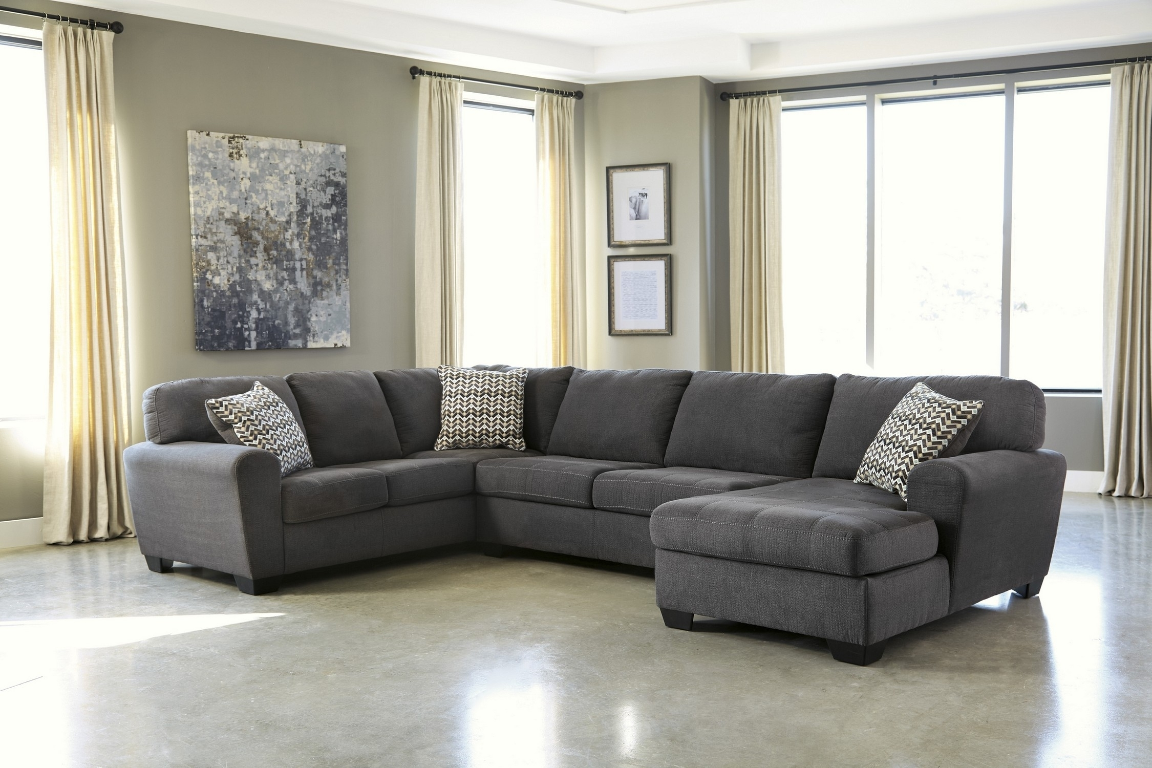 Charcoal Grey Sectional Sofa With Chaise • Sectional Sofa Intended For Sectional Sofas Under  (Image 3 of 10)