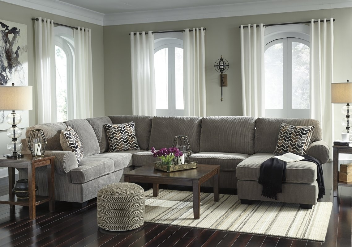 Charlton Home Ellicottville U Shaped Sectional & Reviews | Wayfair Regarding Gray U Shaped Sectionals (View 2 of 10)