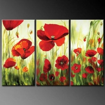 Charm Of Poppy Flowers Modern Canvas Art Wall Decor Floral Oil Inside Poppies Canvas Wall Art (Image 4 of 15)