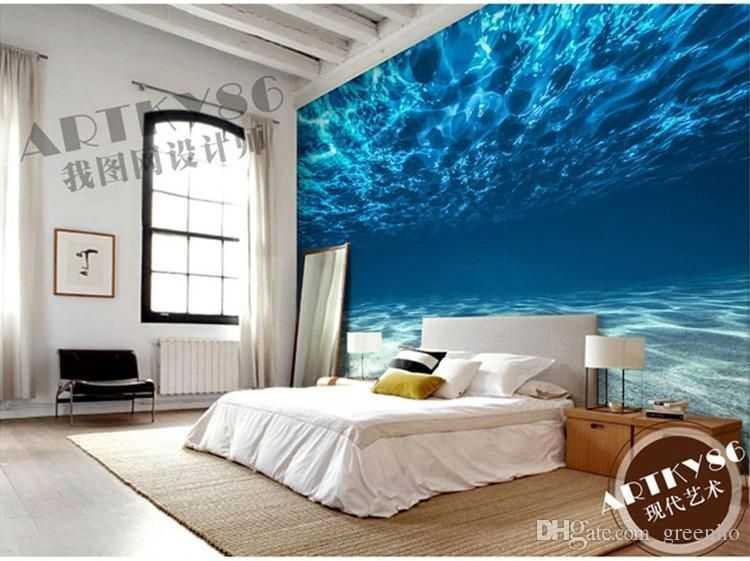 Charming Deep Sea Photo Wallpaper Custom Ocean Scenery Wallpaper Inside Wallpaper Bedroom Wall Accents (Image 4 of 15)