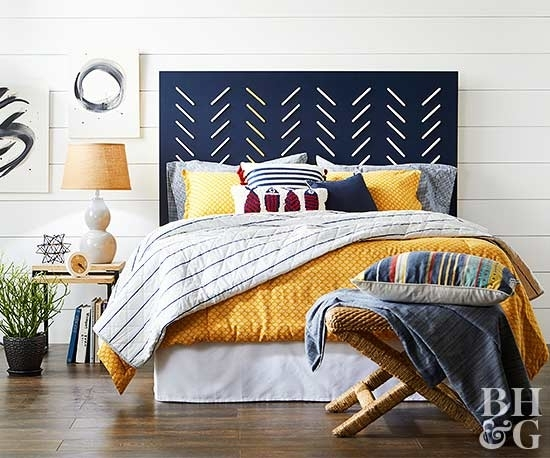 Cheap And Chic Diy Headboard Ideas Within Fabric Wall Art Above Bed (Image 5 of 15)