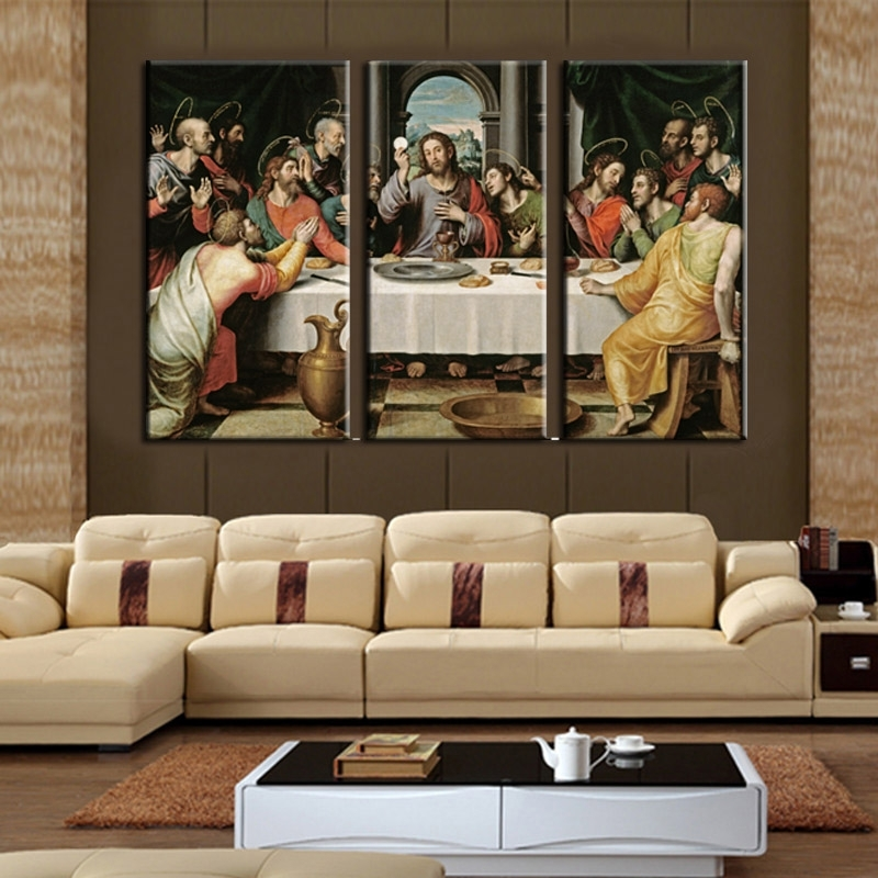 Cheap Modern Paintings 3 Piece Wall Art On Canvas Printed Oil Intended For Jesus Canvas Wall Art (Image 7 of 15)