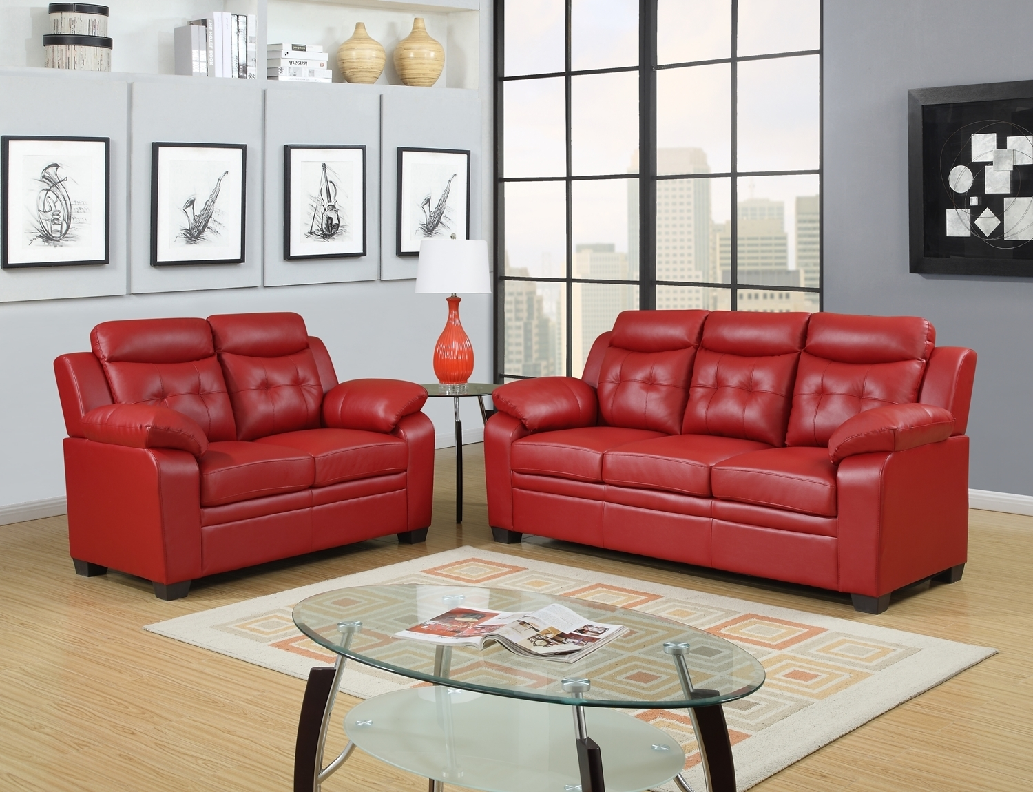 Cheap Red Leather Sofa – Radiovannes With Regard To Red Leather Sofas (Image 2 of 10)
