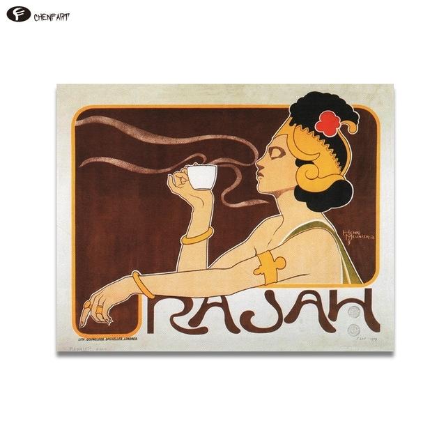 Chenfart Home Decor Canvas Prints Rajah Coffee Art Nouveau Poster Regarding Framed Coffee Art Prints (Image 7 of 15)