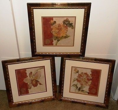 Cheri Blum–Framed & Matted Floral Art Prints, Cracked Linen – Lot Pertaining To Cheri Blum Framed Art Prints (View 13 of 15)