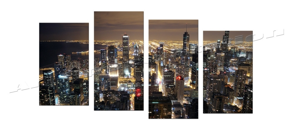 Chicago Skyline Giant Wall Art Home Decor Hd Canvas Print,chicago Throughout Panoramic Canvas Wall Art (View 11 of 15)