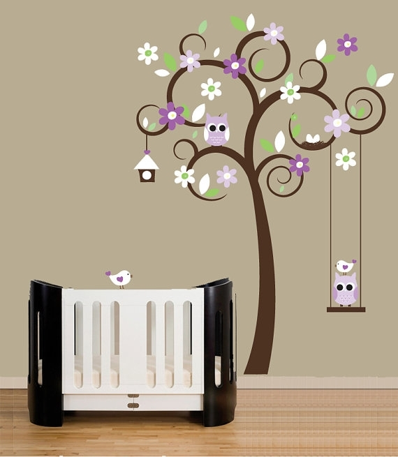 Childrens Wall Decal Swirl Tree Wall Stickers Purple Accent Colors Intended For Wall Accent Decals (View 9 of 15)