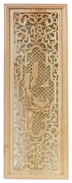 Chinese Rectangular Wood Carving Wall Panel Plaque Cs1450 – Asian Inside Asian Wall Accents (View 3 of 15)