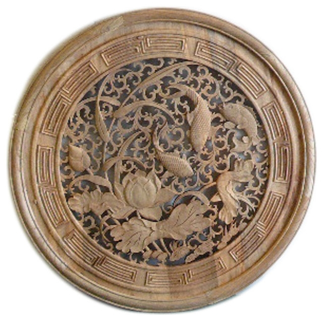 Chinese Round Flower Fishes Wooden Wall Plaque Panel Hcs1284 With Regard To Asian Wall Accents (Image 9 of 15)
