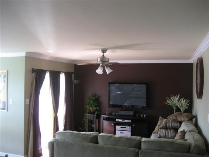 Chocolate Accent Wall In Living Room | Things I'd Like To Do At Pertaining To Brown Wall Accents (Image 5 of 15)