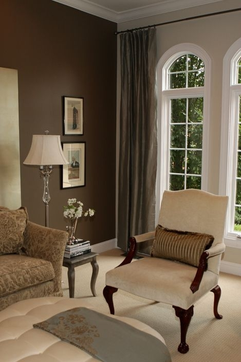 Chocolate Brown Accent Wall With White Woodwork And Tall Windows In Brown Wall Accents (Image 6 of 15)