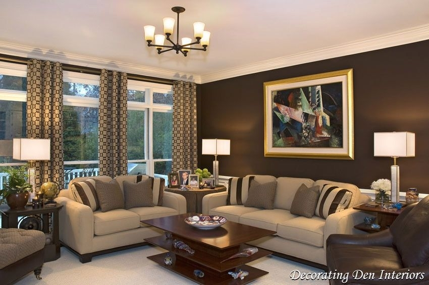 Chocolate Brown Wall Paint Color In Living Room Contemporary For Wall Accents Colors For Living Room (Image 8 of 15)
