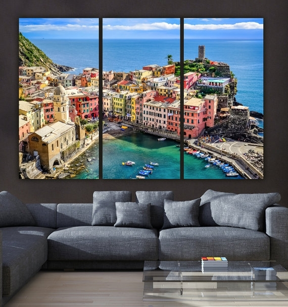 Cinque Terre Italy On Canvas Beautiful Large Canvas Print Intended For Italy Canvas Wall Art (View 2 of 15)