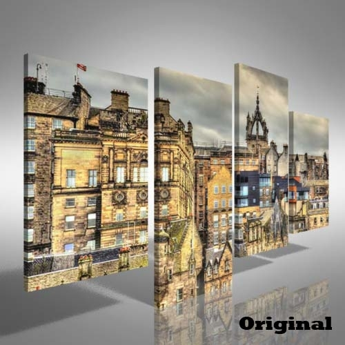City Centre Of Edinburgh Offset Canvas Print Large Picture Wall In Edinburgh Canvas Prints Wall Art (Image 2 of 15)