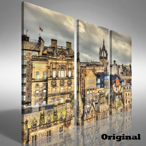 City Centre Of Edinburgh Treble Canvas Print Large Picture Wall With Edinburgh Canvas Prints Wall Art (Image 3 of 15)
