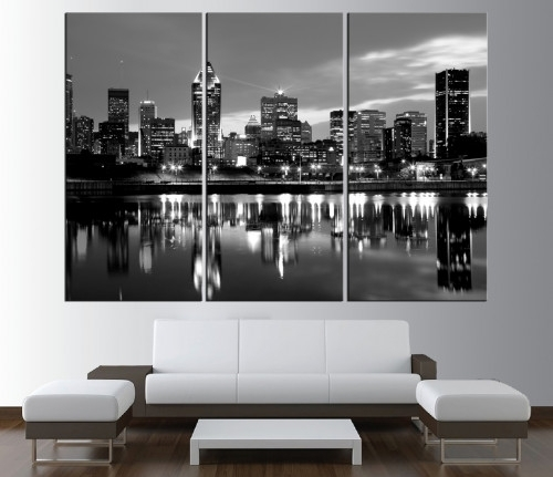 City Skyline Canvas Prints | Walldecal76 Artfire Shop Intended For Montreal Canvas Wall Art (View 13 of 15)