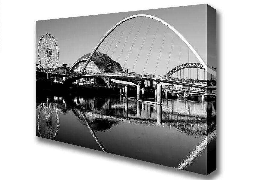 Cityscape B N W Millennium Bridge Gateshead Newcastle Canvas Art With Regard To Newcastle Canvas Wall Art (View 6 of 15)