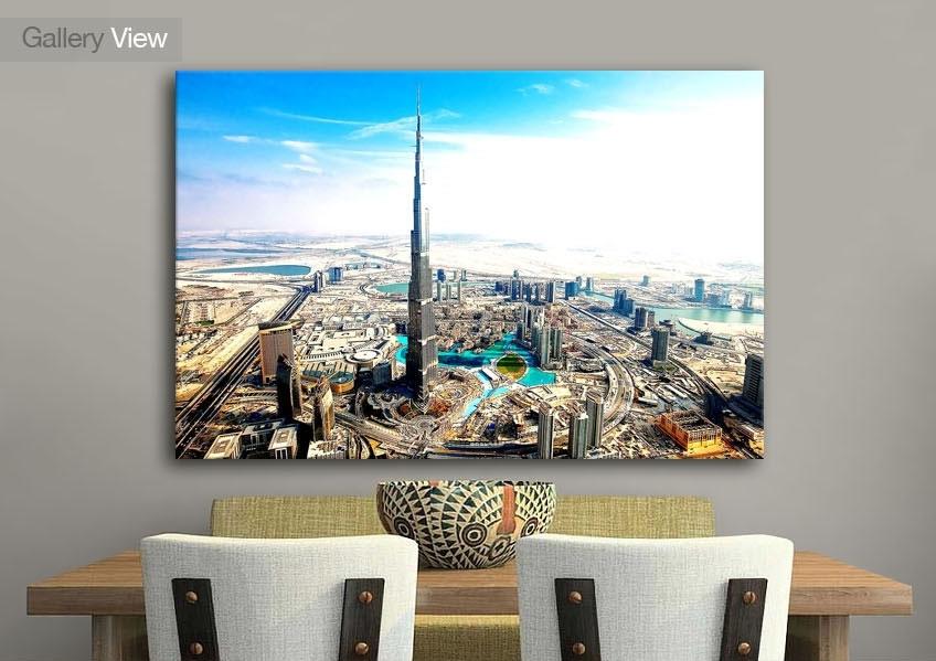 Cityscape Burj Khalifa Aka Burj Dubai Canvas Prints Throughout Dubai Canvas Wall Art (Image 9 of 15)