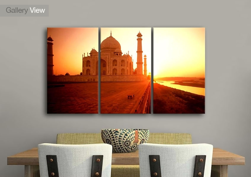 Cityscape Three Panel The Taj Mahal At Sunset India Canvas Prints With India Canvas Wall Art (View 9 of 15)