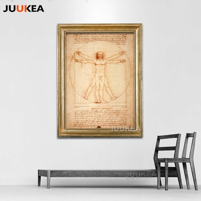 Classic Art Prints On Canvas Leonardo Da Vinci Homo Vitruvianus In Framed Classic Art Prints (Image 7 of 15)