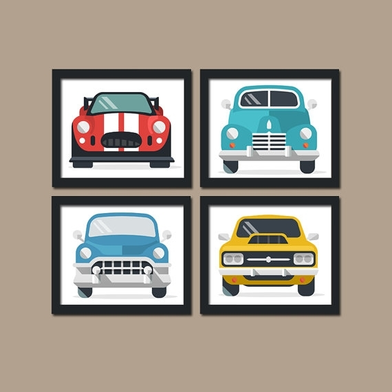 Classic Cars Wall Art- Boy Wall Art- Retro Cars- Vintage Antique with Cars Theme Canvas Wall Art