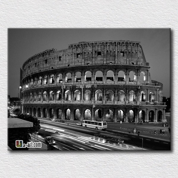 Classical Canvas Painting Of The Roman Colosseum Black And White With Regard To Canvas Wall Art Of Rome (View 6 of 15)