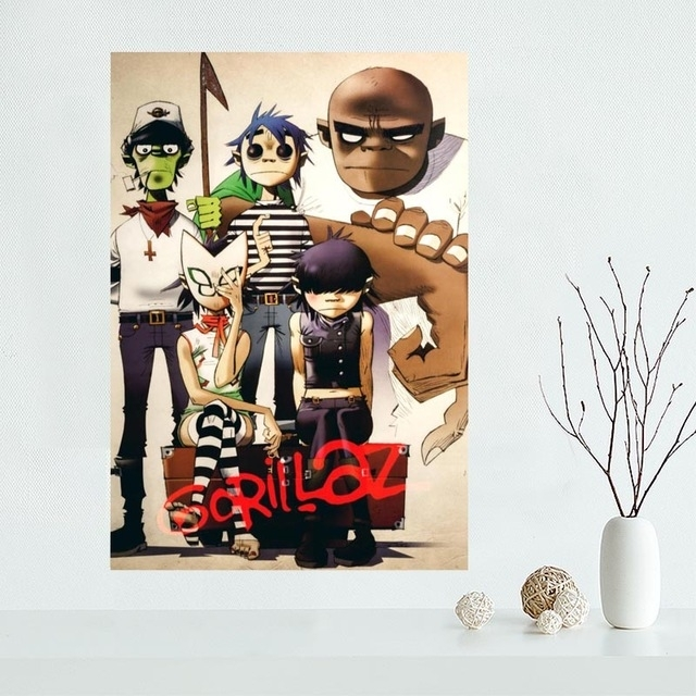 Classical Custom Gorillaz Canvas Painting Poster Cloth Silk Fabric Inside Silk Fabric Wall Art (View 14 of 15)