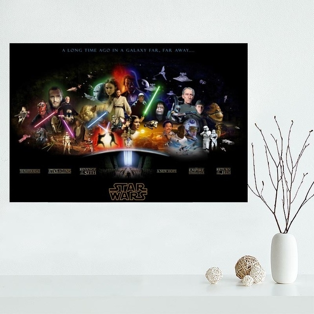 Classical Custom Star Wars Canvas Painting Poster Cloth Silk Pertaining To Silk Fabric Wall Art (Image 3 of 15)