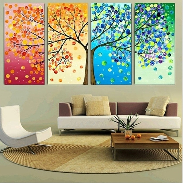 Classical Leaf Tree Wall Art Canvas Painting 4 P For Living Room Intended For Fabric Tree Wall Art (Image 4 of 15)